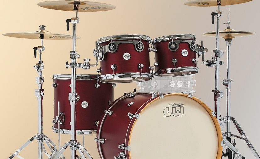 Enter for Your Chance to Win a DW Shell Pack in Dark Cherry Satin.  Play like a pro with a Design Series drum set