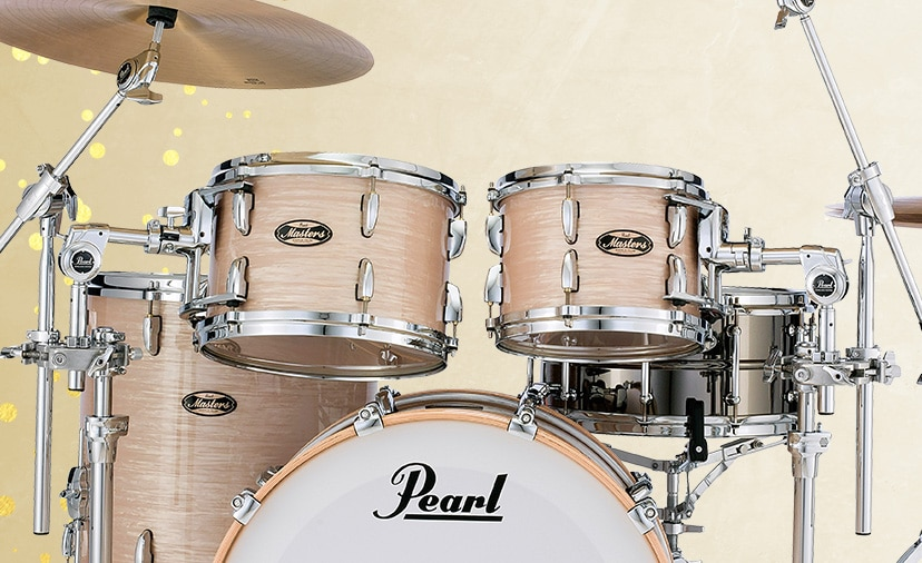 New Pearl Masters Maple/Gum Drum Kit. Vault-cured maple and gum shells with premium hardware deliver timeless sound