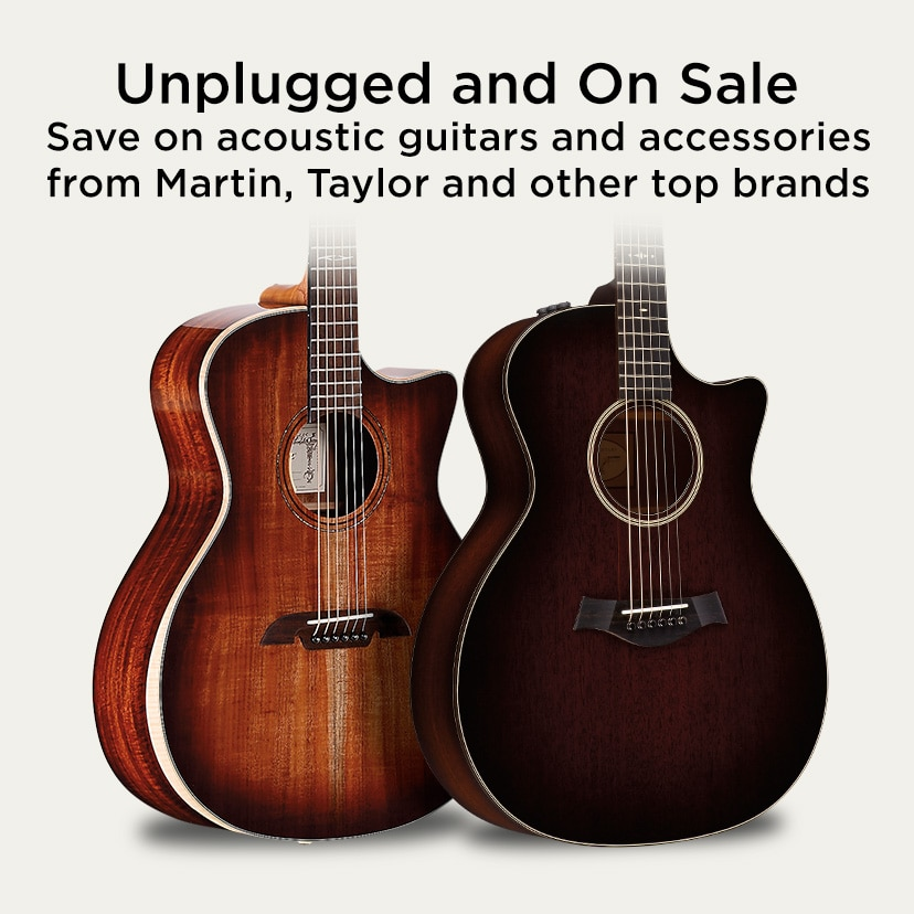 Unplugged and On Sale. Save on acoustic guitars and accessories from Martin, Taylor and other top brands