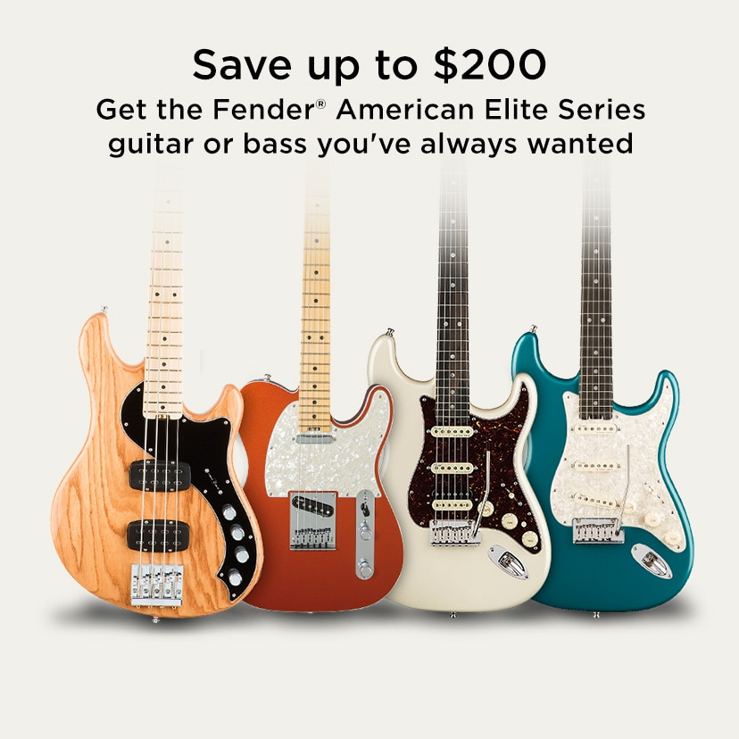 Save up to 200 Get the Fender American Elite Series guitar or bass you've always wanted