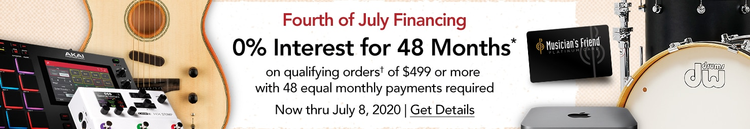 Fourth of July Financing 0 Percent Interest for 48 months on qualifying orders of 499 or more with 48 monthly payments