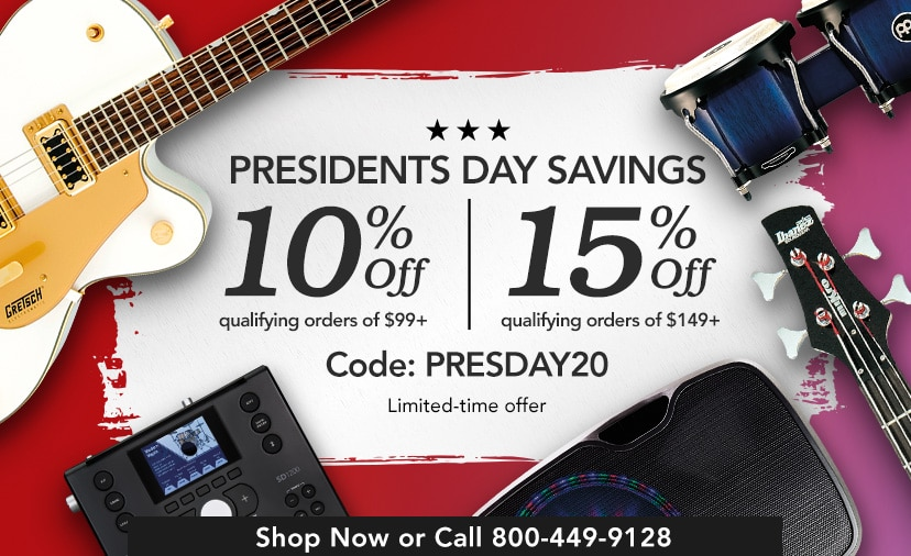 MusiciansFriend Rewards Early Access Presidents Day savings 10 percent off qualifying orders of 99 dollars up 15 percent off qualifying orders of 149 dollars up Use Code PRESDAY20 Shop Now or call 800 449 9128 Limited time offer