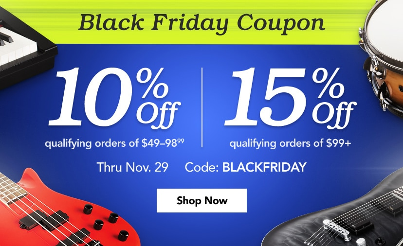 Black Friday Coupon Ten Percent off qualifying orders of forty-nine to ninety-eight dollars ninety nine cents and fifteen percent off qualifying orders of ninety-nine dollars up Code BLACKFRIDAY