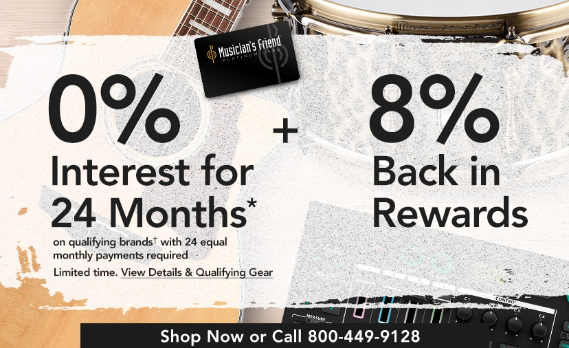 Twenty four month financing on qualifying purchases. Plus earn eight percent back in rewards.