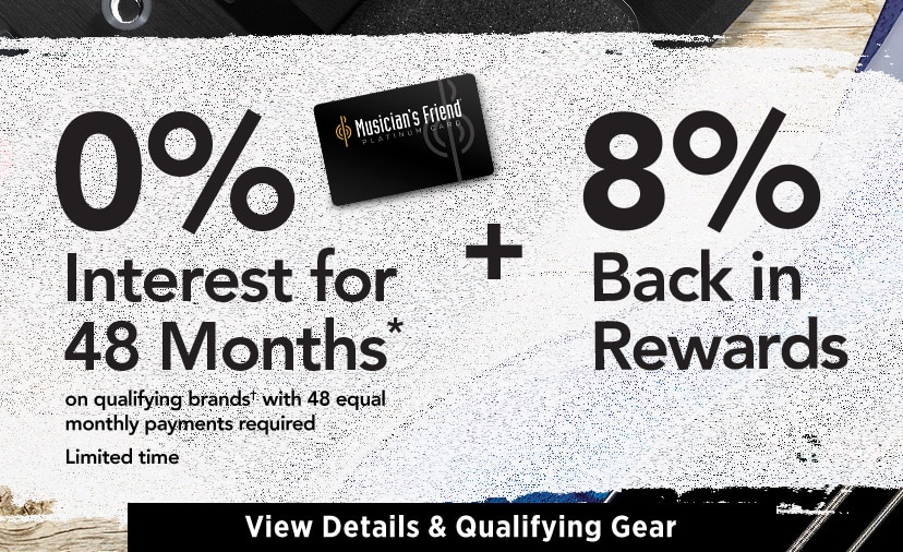 forty eight month financing on qualifying purchases. Plus earn eight percent back in rewards.