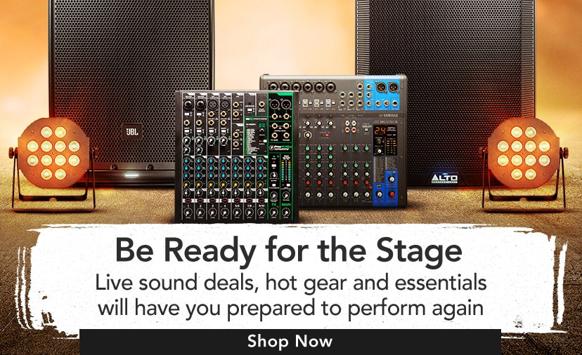 Be ready for the stage. Live sound deals, hot gear and essentials will have you prepared to perform again. Shop now.