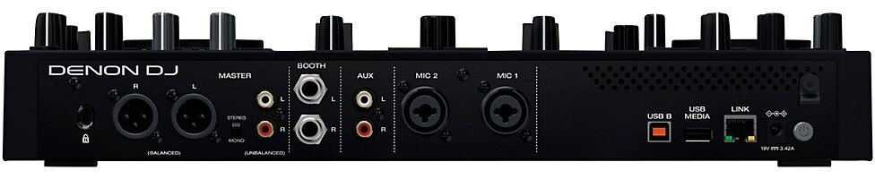 A rear view of the connection options on Denon DJ's Prime Go