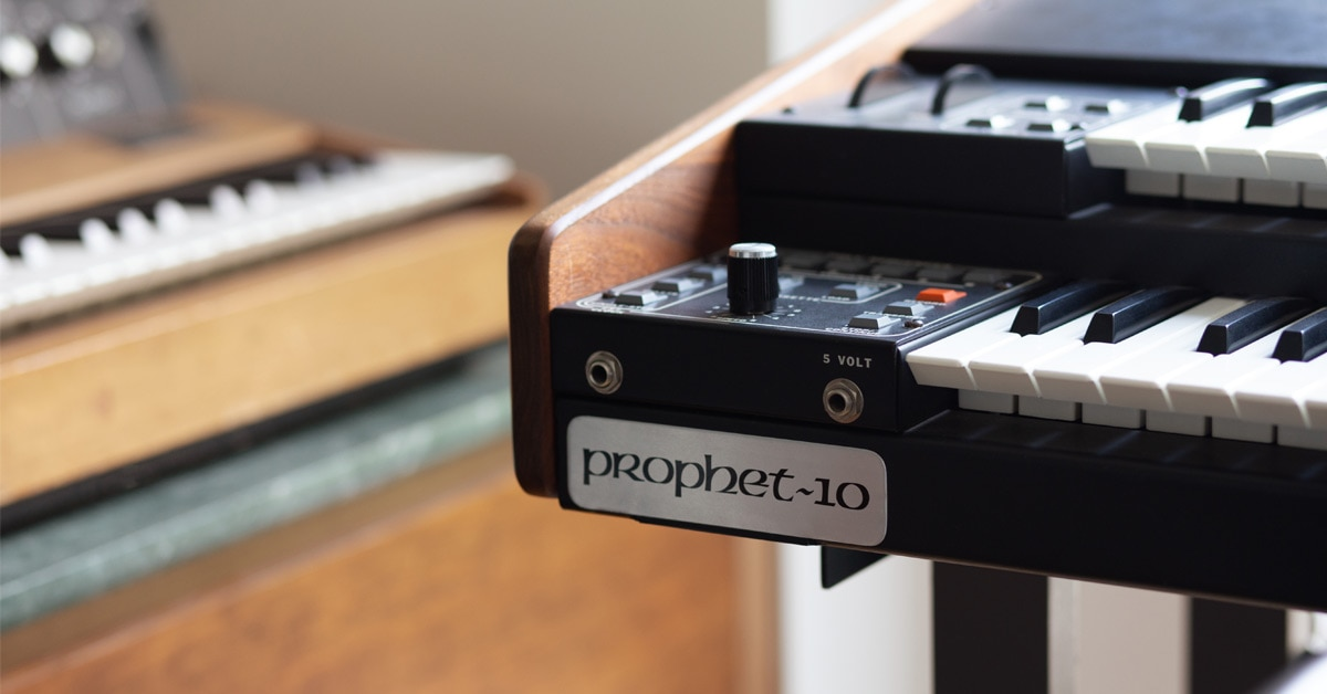 A rare Sequential Circuits Prophet 10 at Sequential headquarters in San Francisco, CA