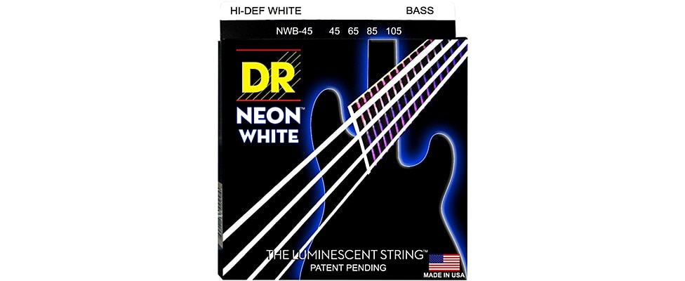 DR Neon White Bass String Set