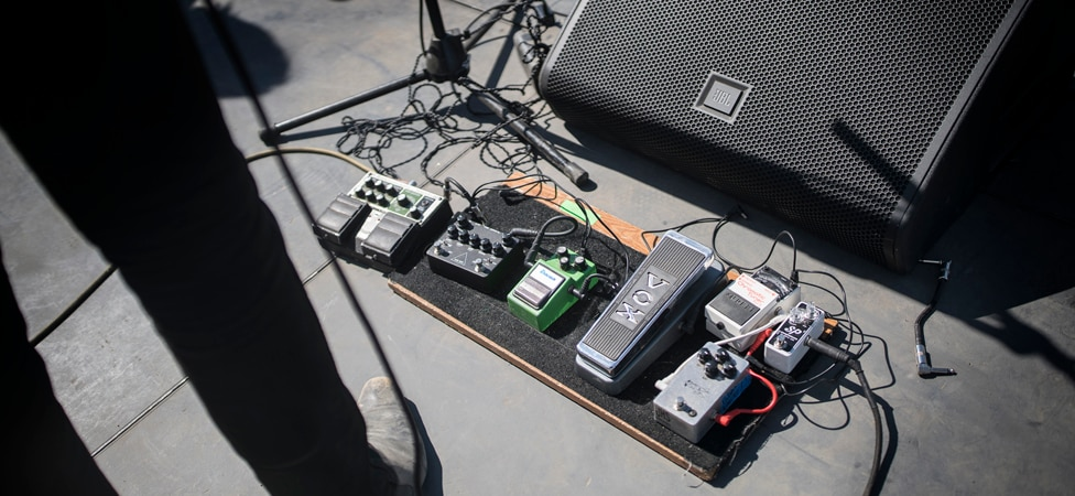 Josh's pedal board on-stage at Desert Daze