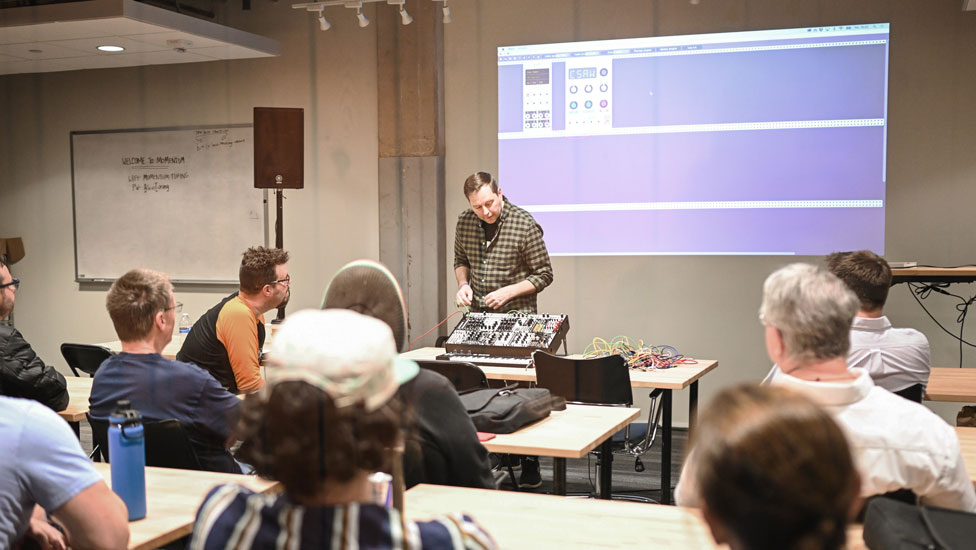 Kim Bjorn teaching a synthesis workshop at Moogfest 2019