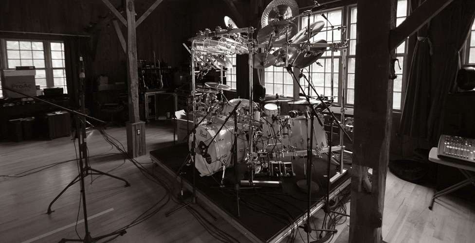 Mike Mangini's Drum Kit Miked Up at Yonderbarn