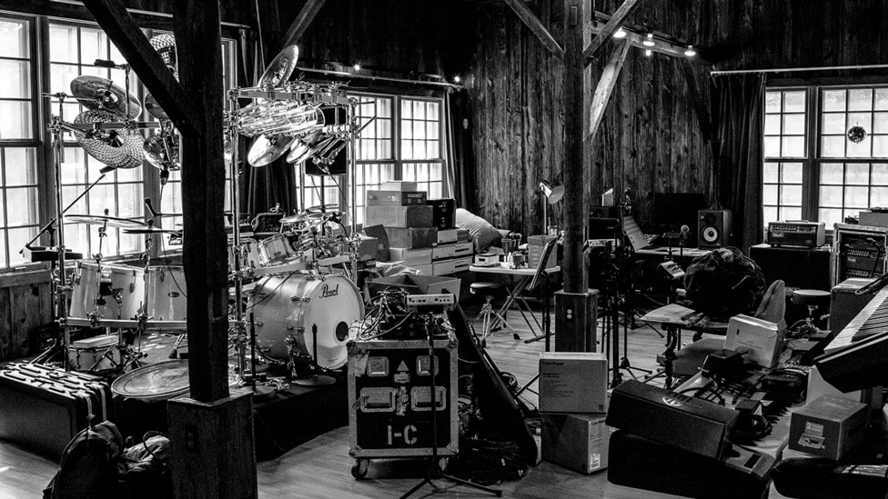 Dream Theater's gear laid out at Yonderbarn