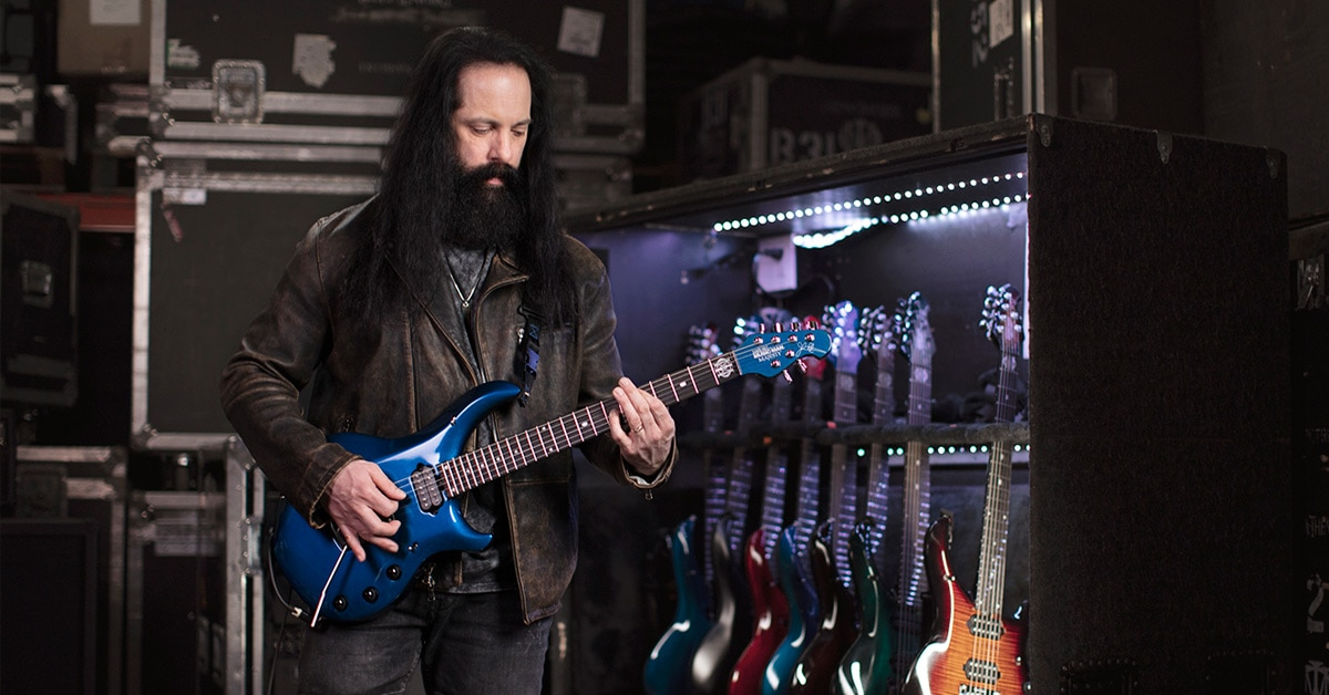 John Petrucci with his 2019 Ernie Ball Music Man Majesty guitars