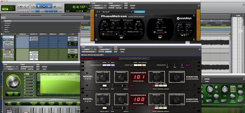 Putting Effects on a Doubled Guitar in Pro Tools